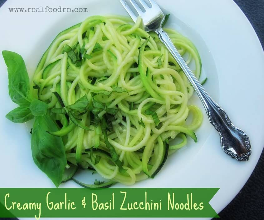 Creamy Garlic & Basil Zucchini Noodles | Real Food RN