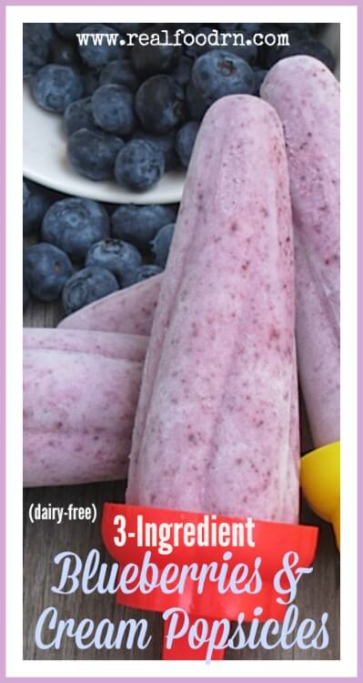 Three Ingredient Blueberry Cream Popsicles | Real Food RN