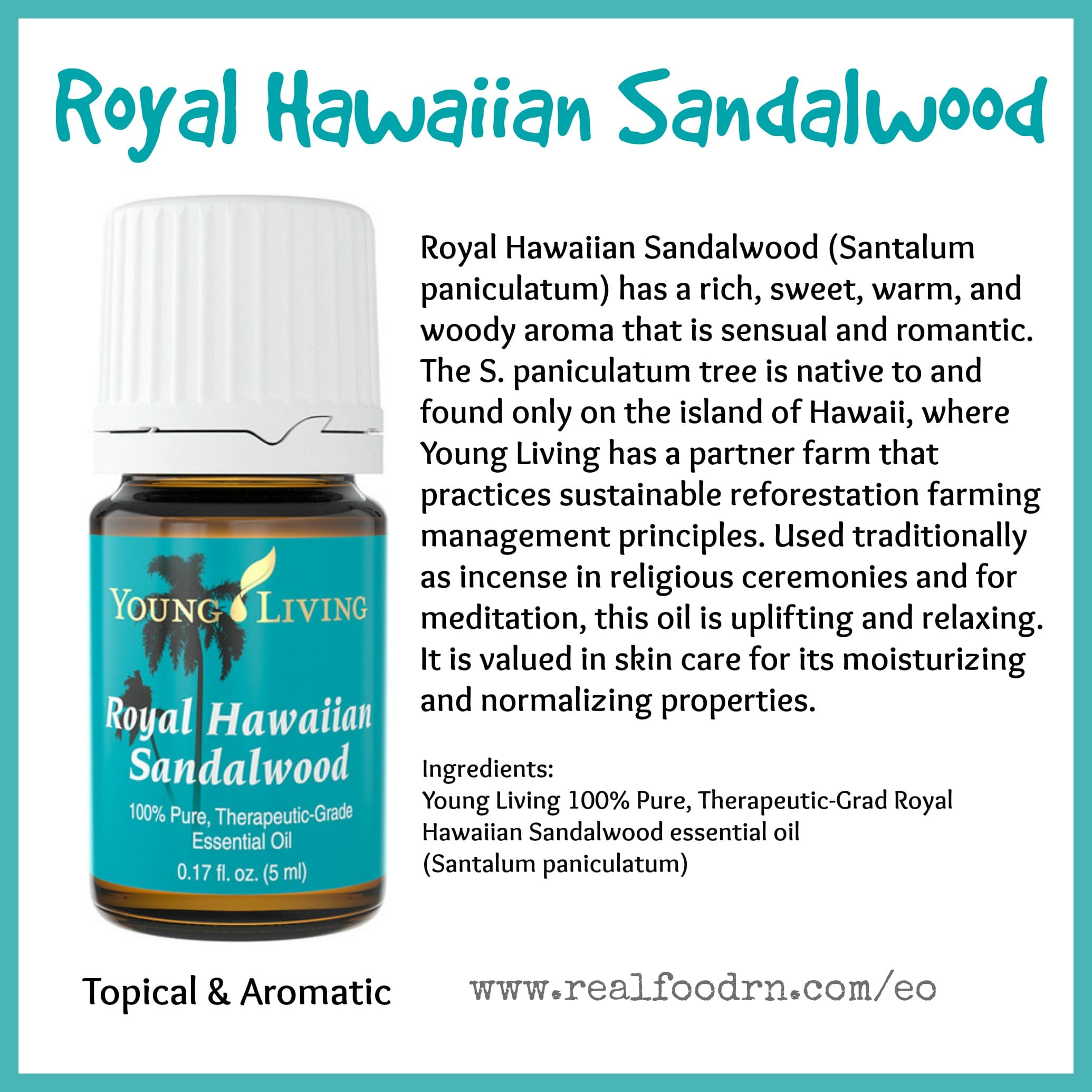 Royal Hawaiian Sandalwood Essential Oil - Real Food RN