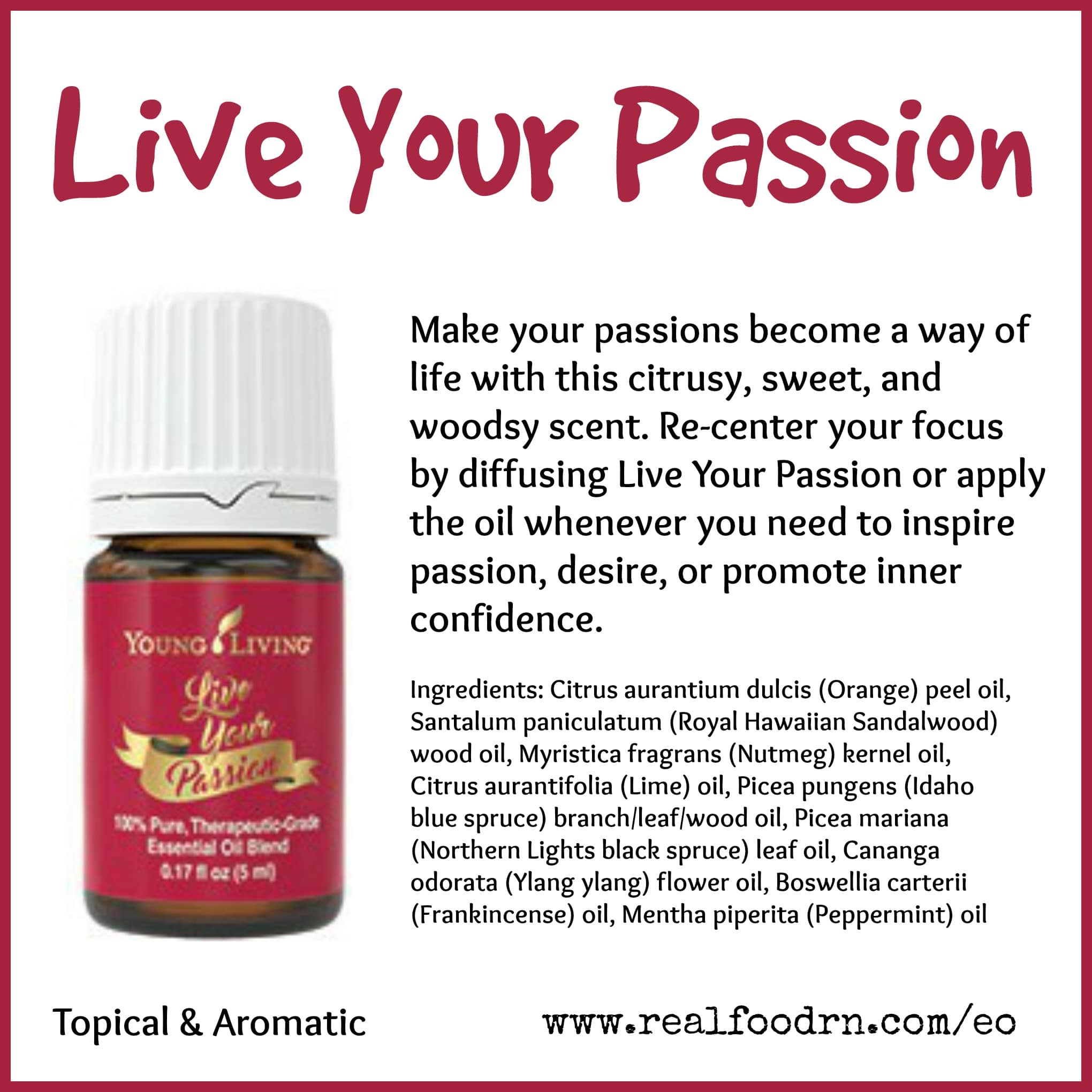 Live Your Passion Essential Oil Pin