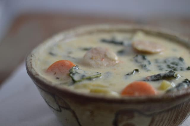 Instant Pot Creamy White Cheddar, Chicken Sausage, and Kale Soup | Real Food RN