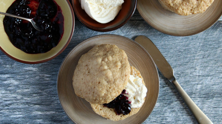 Keto English Muffin with Blueberry Jam & Cream