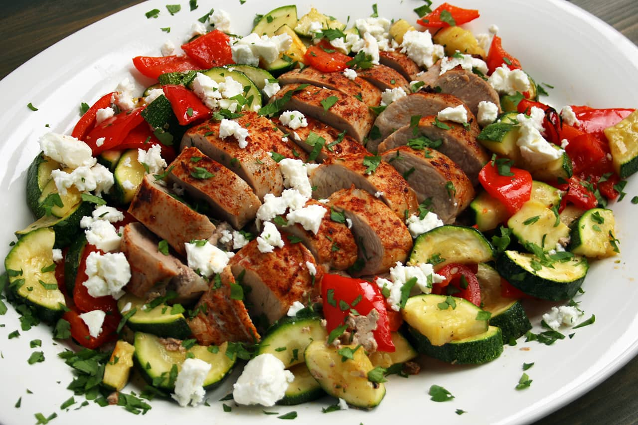 Low Carb Baked Pork Loin with Zucchini and Peppers | Real Food RN