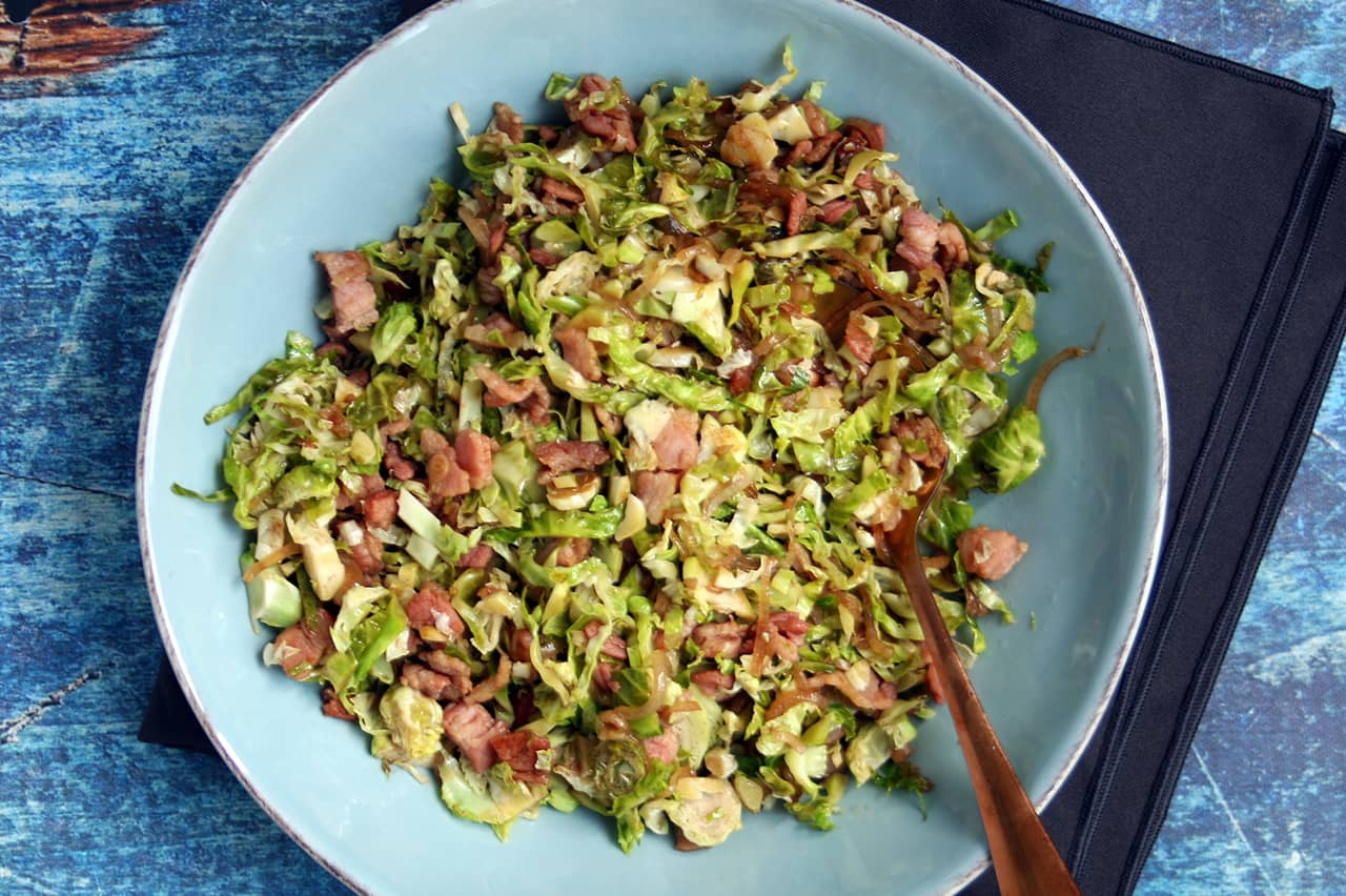 Low Carb Warm Bacon Brussels Slaw | Real Food RN